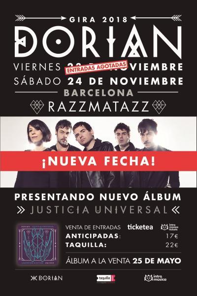 Dorian presentan 'Justicia Universal' (SEGUNDA FECHA), Barcelona (Razzmatazz)